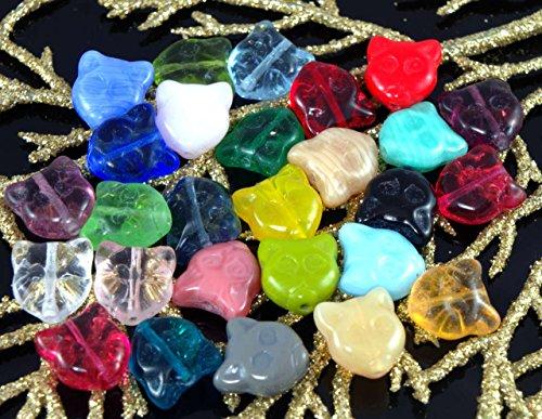 10pcs Mix Multicolor Cat Face Czech Glass Animal Halloween Beads 12mm - Cat Beads