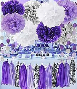 c70f0268b36 Amazon.com  Qian s Party Bridal Shower Decorations Purple White ...