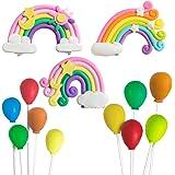 TOYANDONA Rainbow Cake Topper 3D Baby Shower Cake Topper Balloon Cake Picks Rainbow Theme Birthday Party Wedding Cake…