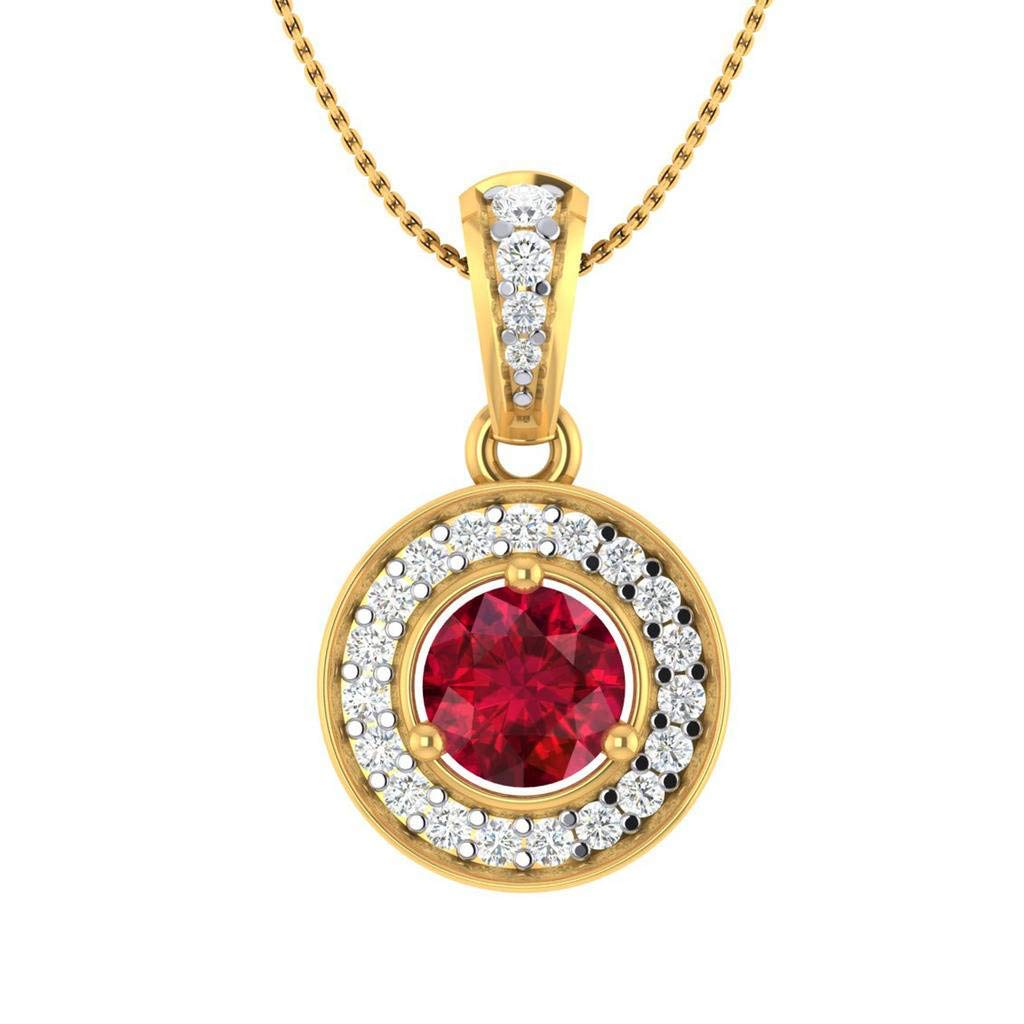 Hanssini Jewels 2.00 CT Round Cut Ruby CZ 14k Yellow Gold Plated Halo Pendant Necklace 18 Chain