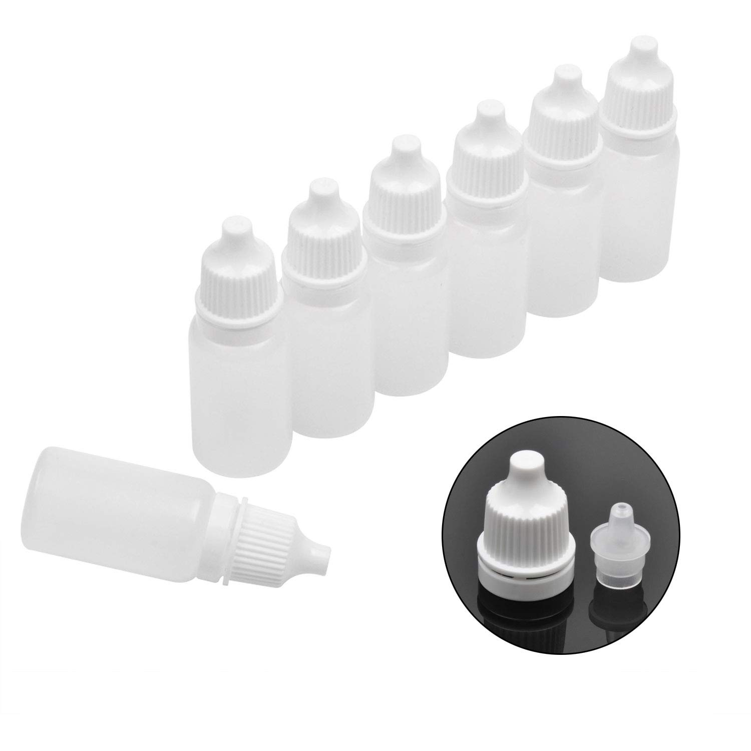 Jespekerere 50 PCS Plastic Dropper Bottle Drop Bottles Empty Applicator Bottle Squeezable Eye Liquid Essential Oil Squeeze Bottle Small Dropper Refillable Containers with Caps 10ml