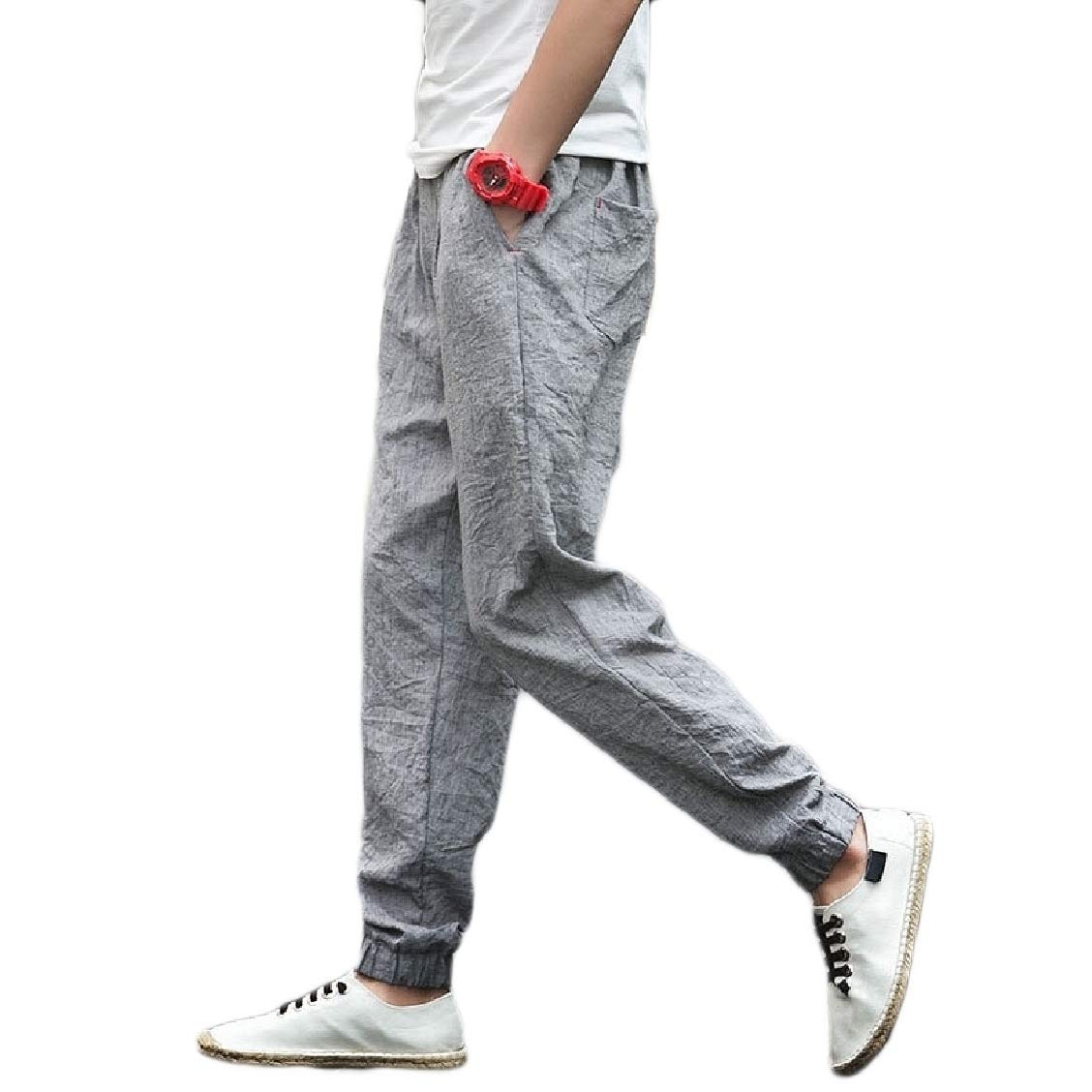 Freely Mens Oversize Chinese Style Classics Linen Trousers Pants Grey 2XL