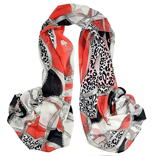Veroda Fashion Long Leopard Heart Chain Scarf Shawl Chiffon Scarves Color Pink