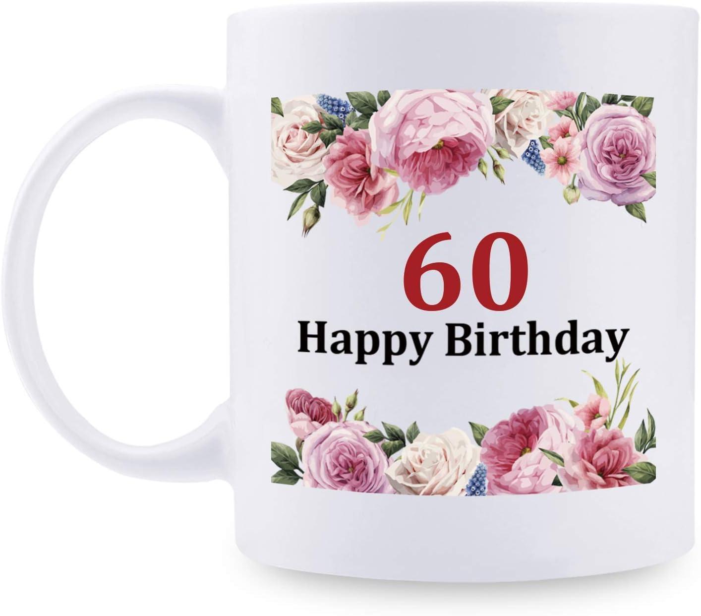 60th Birthday Gifts for Women - 1960 Birthday Gifts for Women, 60 Years Old Birthday Gifts Taza de café para mamá, esposa, amiga, hermana, ella, colega, compañera de trabajo - Taza de flores, feliz cu