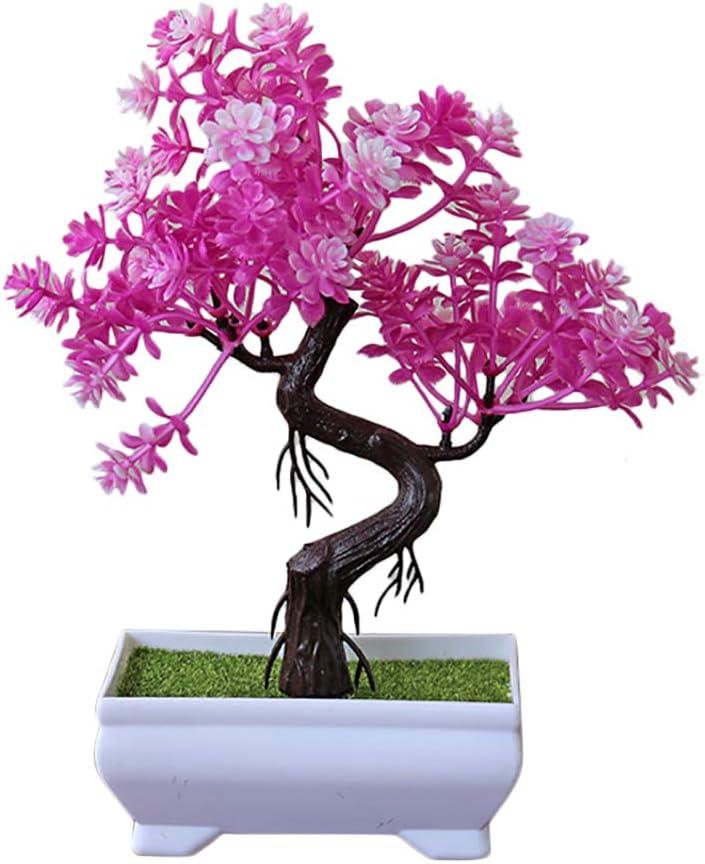 Tonpot Mini Plantes dArtificielles Fausses Bonsa/ï Simulation en Plastique Arbustes Topiaires Artificiels pour F/ête de Jardin Maison D/écor Rose