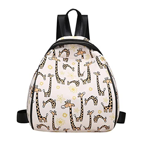a3ccae43056 Rrimin New Fashion Women PU Leather Animal Flower Printed Backpack Casual  Mini Travel Backpack Girls School Bag (Style A)  Amazon.in  Bags, ...