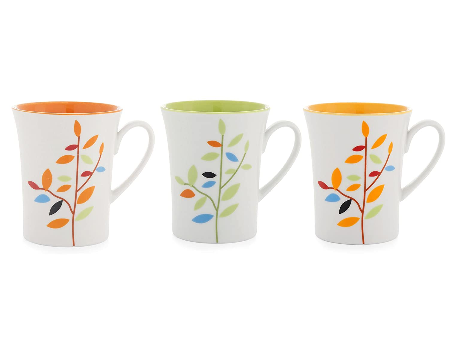 Ceramica Home Leaves Set Tazze Mug 12 unit/à Bianco