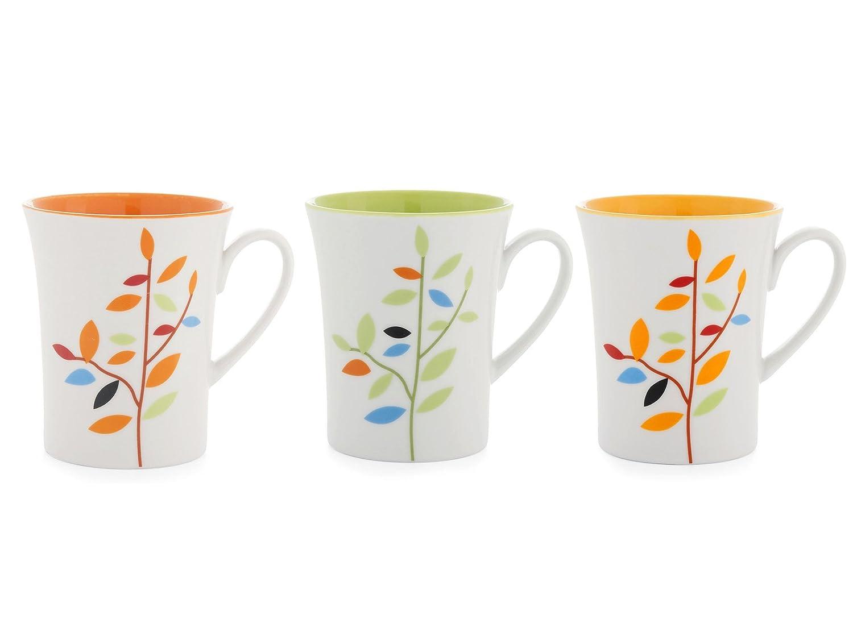 Ceramica Home Leaves Set Tazze Mug 12 unit/à Bianco