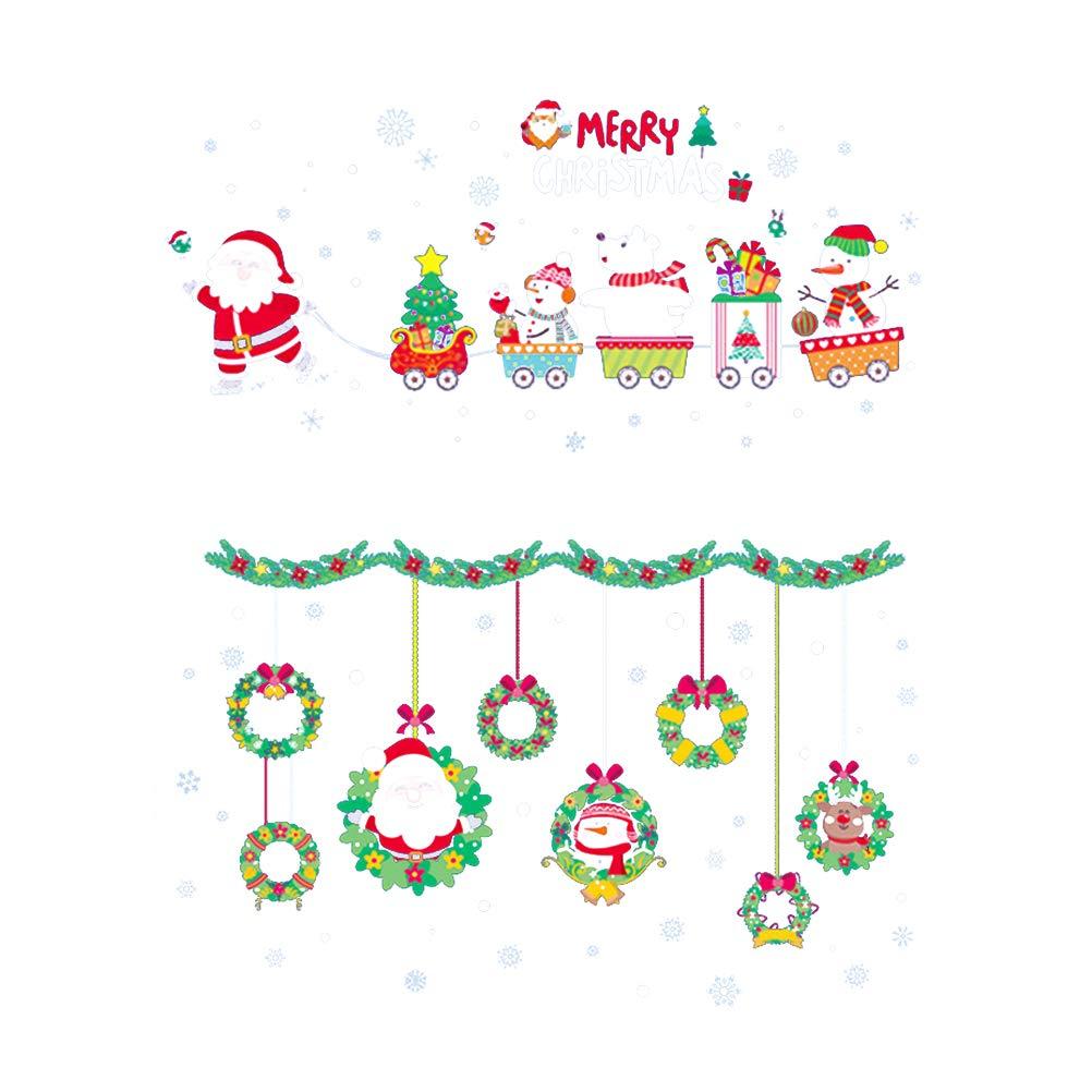 BESTOYARD 2pcs Adesivi murali di Cartone Animato di Natale deliziose Decalcomanie Rimovibili per la Finestra dell'ufficio del Negozio