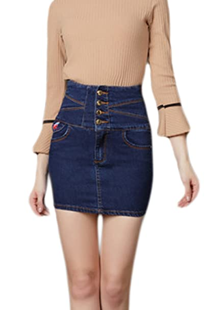85b1c6bda835c Image Unavailable. Image not available for. Color  Women Denim Skirt High  Waist Bodycon Mini Skirts Plus Size ...