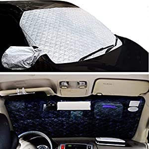 Sunshade for Car Windshield - Auto UV Protector Cover Shields Windshield Sun Shades for All Weather Car Front Window Cover (57 x 39 inches) by Carsun