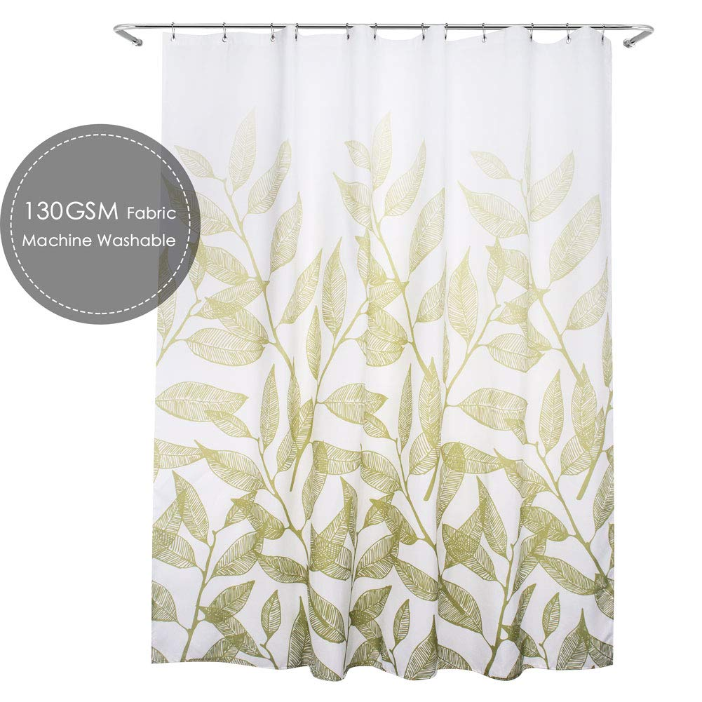 Rust Taupe Leaves Pattern on Ivory Background Fabric Shower Curtain w// 12 Hooks