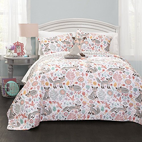 3pc Girls White Grey Cute Fox Quilt Twin Set, Adorable Foxy Wild Animal Flowers Themed, Gray Light Pink Orange, Fun Floral Bird Hearts Pattern, Pretty Girly Flower Heart Bedding