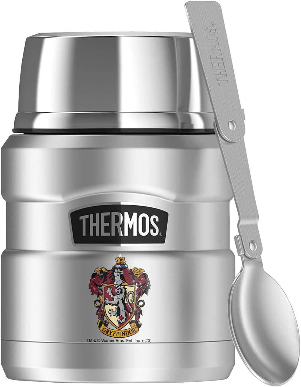 Harry Potter Gryffindor House Crest, THERMOS STAINLESS KING Stainless Steel Food Jar with Folding Spoon, Vacuum insulated & Double Wall, 16oz