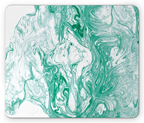 Fluid Collection Station (Marble Mouse Pad by Lunarable, Trippy Fluid Mixed Color Motif with Watercolor Paintbrush Featured Art Print, Standard Size Rectangle Non-Slip Rubber Mousepad, Jade Green White)