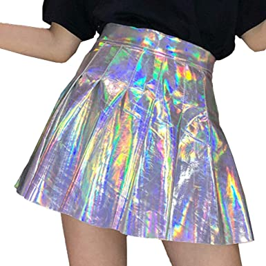 ZAMAC Falda holográfica holográfica para Mujer, Plisada ...