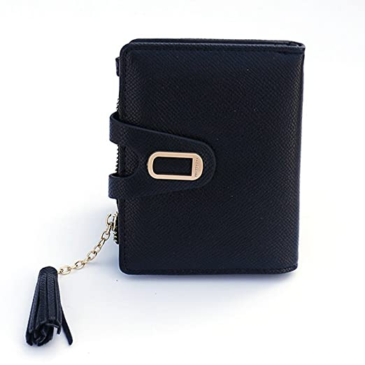 wallets for women small slim cute leather bifold card holder coin purse tassel - Bifold Card Holder