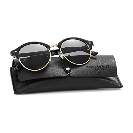 ad2a55e814 2020Ventiventi Stainless Steel Sunglasses for Men Women Polarized Round  Lens Half Frame with Sun Glasses
