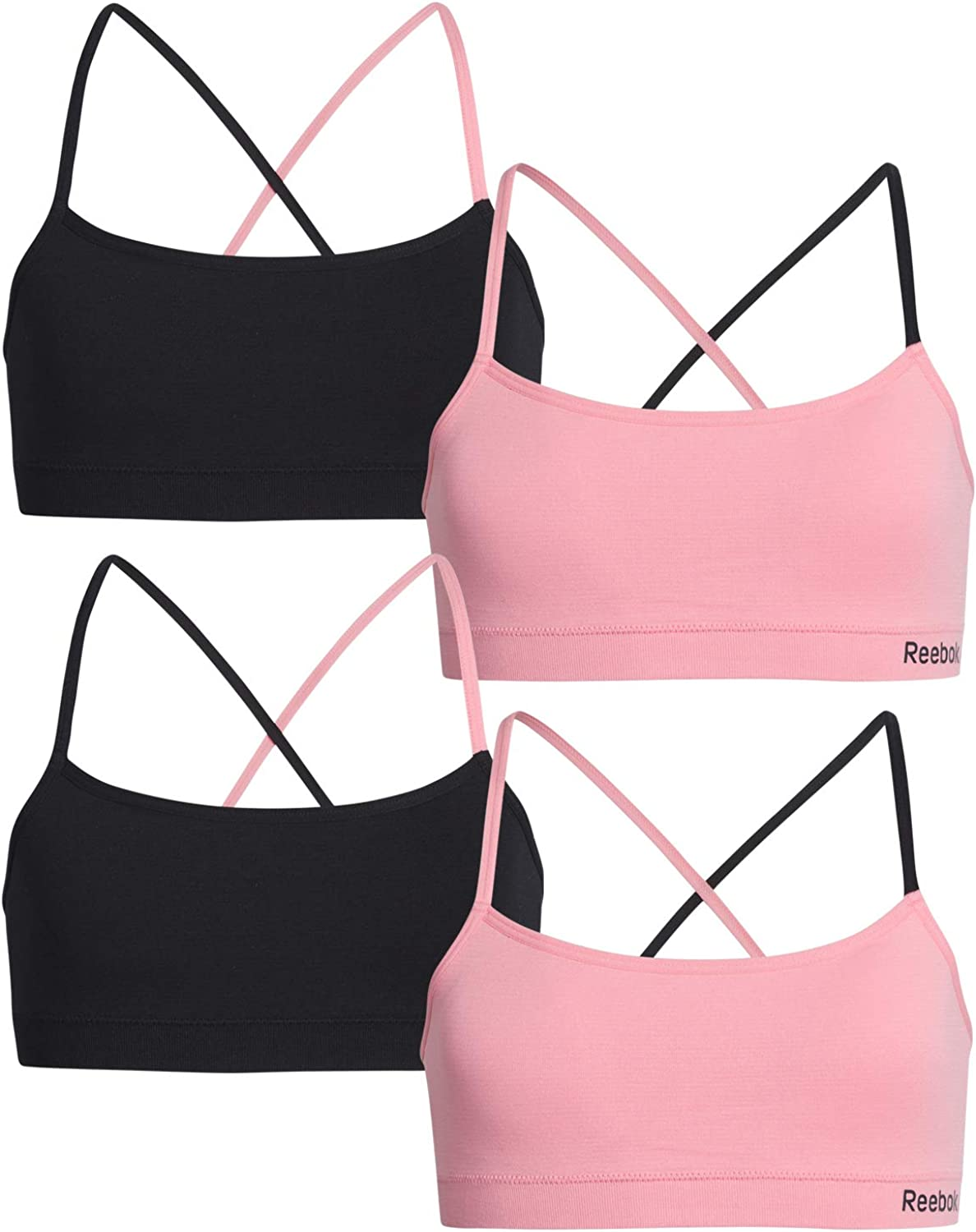 Reebok Girls Nylon//Spandex Seamless Bralette with Removable Pads 4 Pack