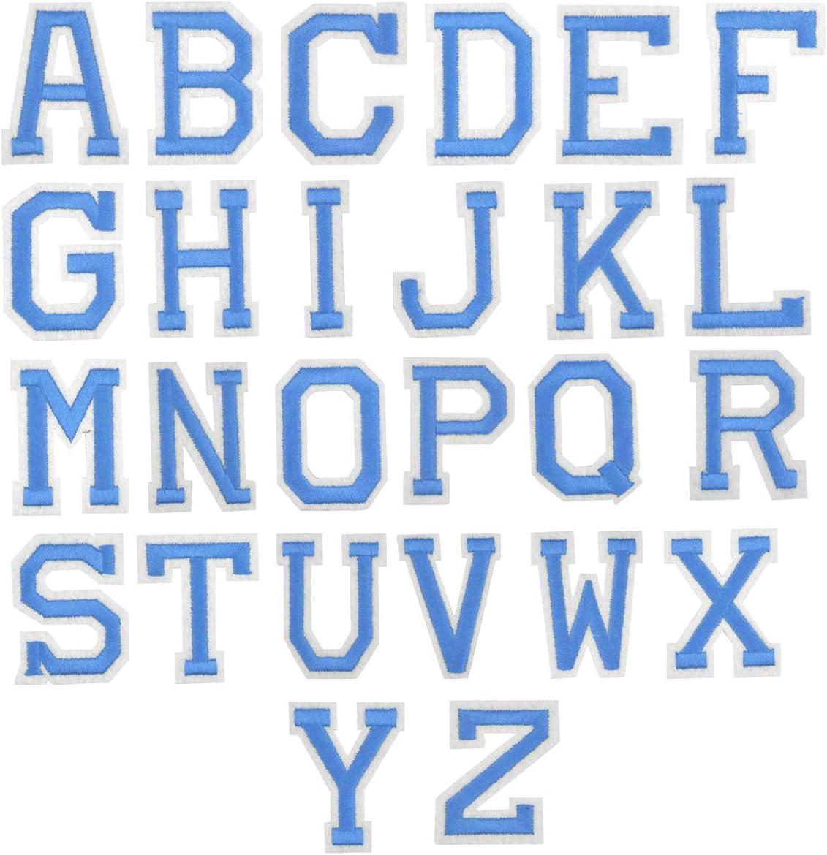 26Pcs Azul Letra Parches Termoadhesivos, A-Z Alfabeto Apliques de ...