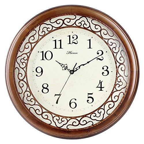HENSE Indoor Living Room Silent Round Wall Clock Decorative