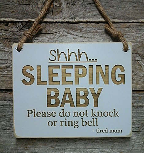 Shhh…Sleeping Baby – Small Hanging Sign – Nursery Decor – Baby Sleeping Sign – Baby Shower Gift