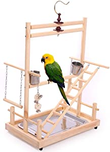 QBLEEV Bird Playground Perch with Hook, Parrot Training Stand,Tabletop with Stainless Steel Tray & Feeder Cups Dishes,Ladder Swing Hanging Chewing Toys for Budgies Parakeet Conure Hamster