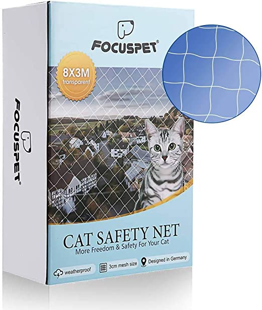 Focuspet Red de Proteccióno para Gatos, 3 X 8M Red de Seguridad Animales para Balcones y Ventana Red de Grilla de Protección Transparente Se Puede Cortar: Amazon.es: Productos para mascotas