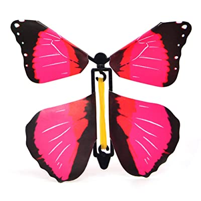 Liveday 6 Pcs Magic Props Flying Butterflies Rubber Band Powered Surprise Toy DIY Butterfly for Children Wedding Decoration: Garden & Outdoor