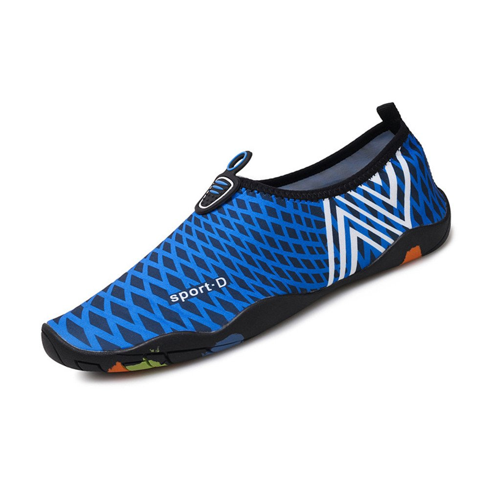 Humasol Men Women's Lightweight Quick-Dry Aqua Shoes Multifunctional Water Socks for Swim Beach Pool B073WTMVPX US Women:12-13.5/ Men:10.5-12 (EU 43-44)|NCheck-Dark blue