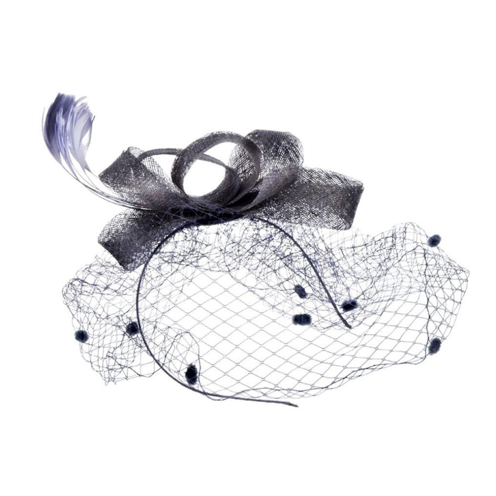 Fashion Women Fascinator Penny Mesh Hat Ribbons and Feathers Wedding Party Hat Beige