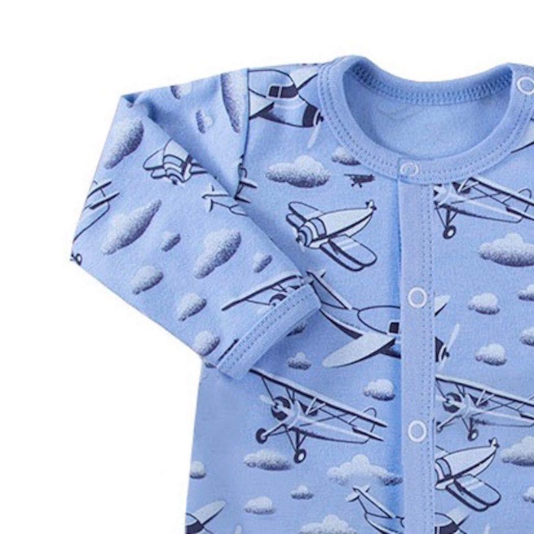 Langarm Baumwolle F/ü/ßchen Eevi Sky Baby Strampler Blau