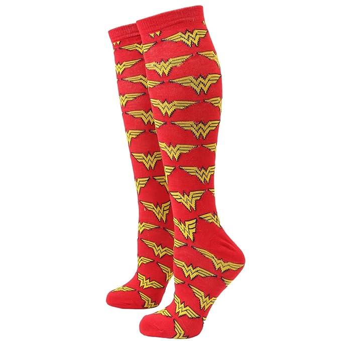 65482d4bd2c Women s Vintage Clothing Officially Licensed Ladies Wonder Woman Warrior  Knee High Socks