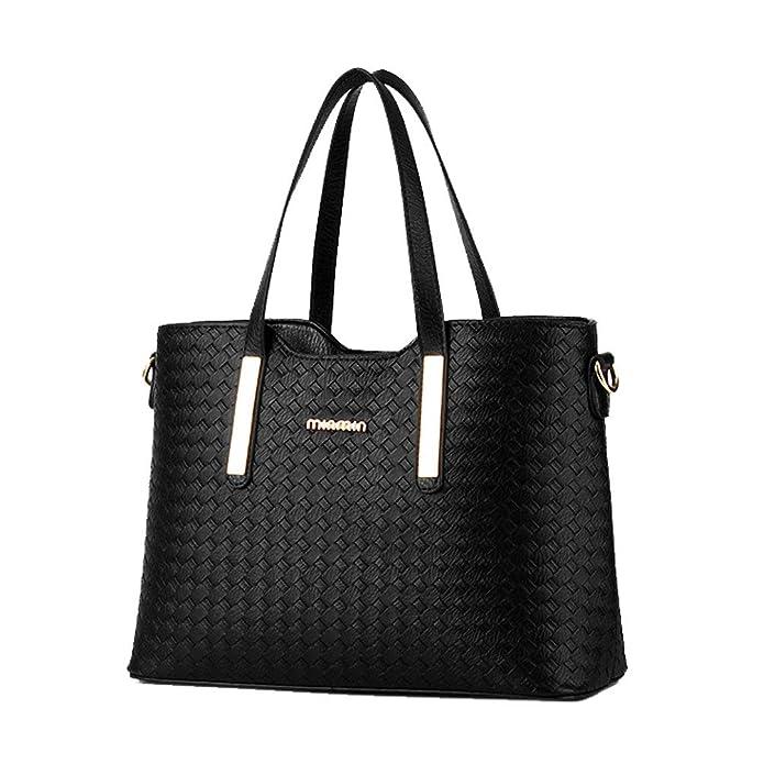 d3016b8497b6 3PCS SET Women PU Leather Satchel Handbag Shoulder Messenger Crossbody Bag  Wallet (Black)  Handbags  Amazon.com