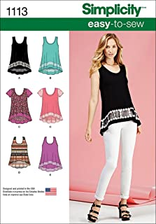 product image for Simplicity 1113 Learn to Sew Knit Top Sewing Patterns for Women, Sizes XXS-XXL