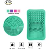 ESARORA Makeup Brush Cleaner, Makeup Brush Cleaning Mat Set of 2 Makeup Brushes Cleaner Plate Portable Washing Tool Scrubber Suction Cup