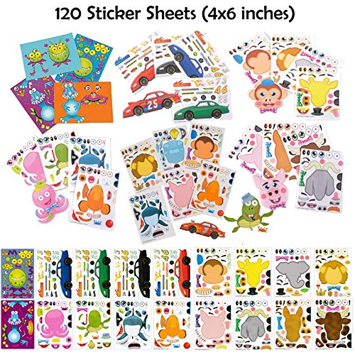 Make A Sticker Sheets (4.5 x 6.5 inches) - Great for Kid's Stocking Stuffers, Easter Basket Stuffers, Party Favors,Travel Activities for Kids (120 Sticker Sheets, Variety Pack - 18 Designs Total)]()