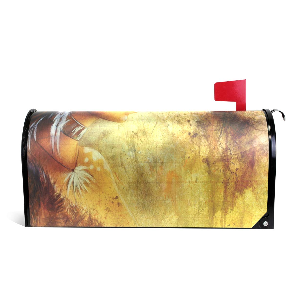 MAPOLO Indian Woman Wearing Feather Headdress with Wolf Magnetic Mailbox Cover Oversized