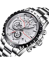 Mens Watches Sport Waterproof Fashion Quartz Analog Stainless Steel Watch Men Luxury Brand LIGE Business Black Wristwatch with Luminous Date Chronograph