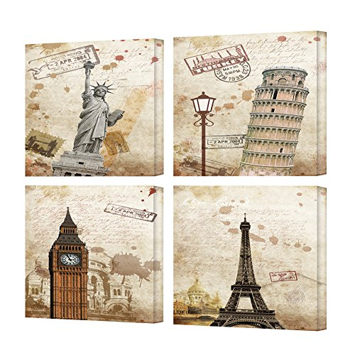 (TONZOM Canvas Wall Art Print on Canvas Stretched And Framed to Hand-Statue of Liberty, Leaning Tower of Pisa, Big Ben, Eiffel Tower(12x12inchx4pcs))