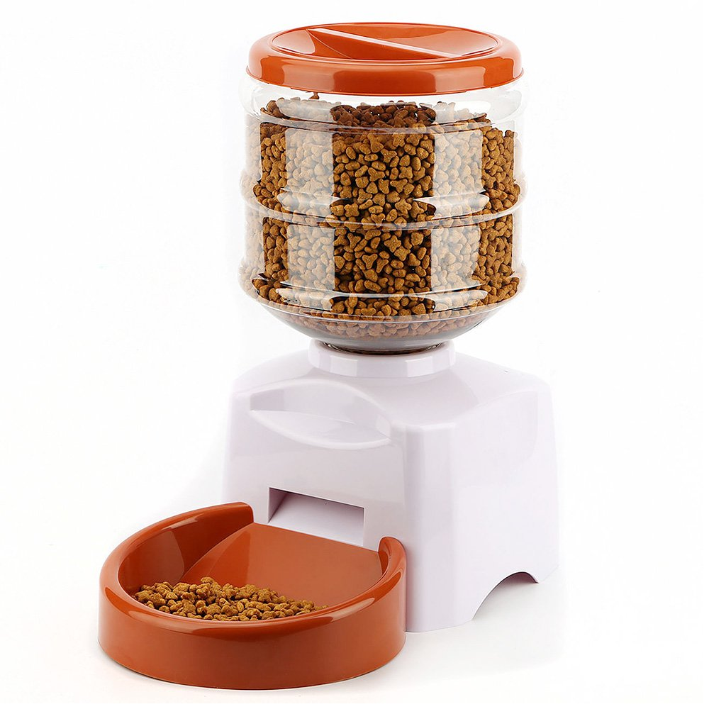 5.5L Large Automatic Pet Feeder with Voice Message Recording and LCD Screen Smart Dogs Cats Food Bowl Dispenser White