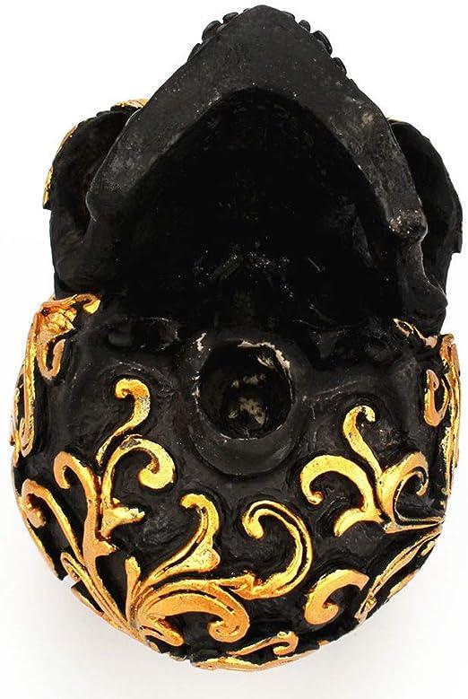 Golden BESPORTBLE Resin Craft Black Skull Head Golden Carving Creative Decoration Skull Sculpture Ornament Home Halloween Decoration