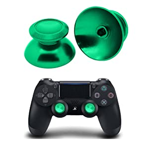 PinPle Metal Analog Thumbsticks Thumb Stick Joystick Replacement Cap Cover for PS4 PlayStation 4 (Green)