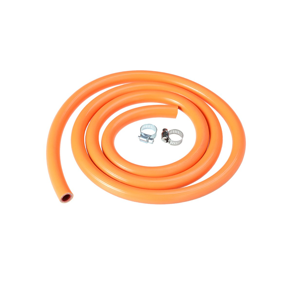 OUNONA 150cm Gas Regulator Disconnect Hose Assembly Rubber Natural Liquefied Gas Stove Water Heater Gas Tube with 2 Fittings (Orange)