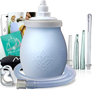 Silicone Enema Bulb Kit - Extra Large 15oz (450ml) Anal Douche for Men and Women - Portable - BPA and Phthalates Free - by Mikacare