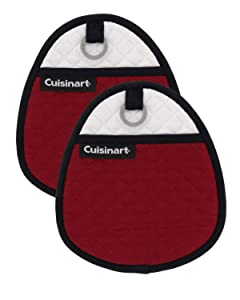 Cuisinart Quilted Silicone Potholders & Oven Mitts - Heat Resistant up to 500° F, Handle Hot Oven/Cooking Items Safely - Soft Insulated Pockets, Non-Slip Grip w/Hanging Loop, Red Dahlia- 2pk