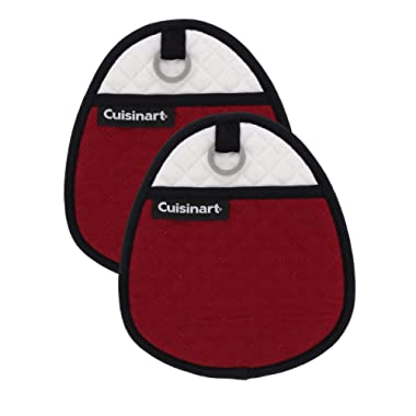 Cuisinart Quilted Silicone Pot Holders and Oven Mitts with Soft Insulated Pockets, 2pk - Heat Resistant Hot Pads, Potholder, Trivets with Non-Slip Grip to Safely Handle Hot Cookware - Red Dahlia