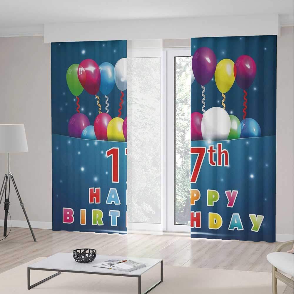 TecBillion 窓用カーテン 16歳の誕生日装飾 リビングルーム 寝室用カーテン パーティーフラッグ 記念日 かわいい落書きスタイル 手描きレトロパターン 70Wx98L Inches CL401_10_K180xG250_001685 70Wx98L Inches Multi 08 B07Q6VG81K