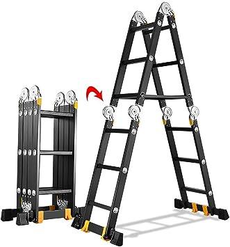 LADDER Escaleras telescópicas, Escalera telescópica plegable negra con almohadilla antideslizante, Escalera extensible portátil de usos múltiples para materiales de construcción de oficinas, 12.1 pie: Amazon.es: Bricolaje y herramientas