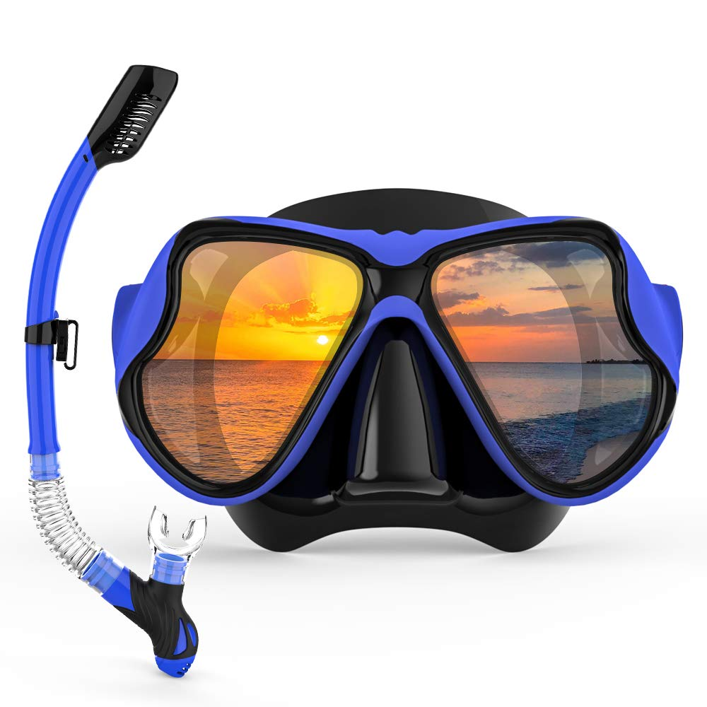 COPOZZ Scuba Mask, Snorkeling Dive Glasses, Free Diving Tempered Glass Goggles - Optional Dry Snorkel with Comfortable Mouthpiece (4915 Blue Set) by COPOZZ